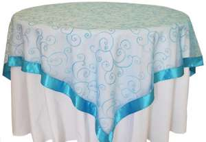 Turquoise 85″ x 85″ Embroidered Organza Overlay