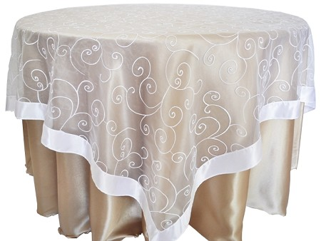 White 85″ x 85″ Embroidered Organza Overlay