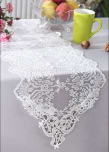 White 13″x108″ Floral Lace Runner