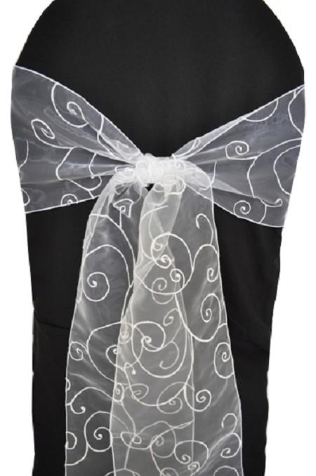 White Embroidered Organza Chair Sash