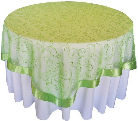 Apple Green 85″ x 85″ Embroidered Organza Overlay