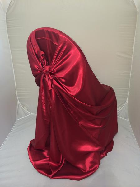Apple Red, Satin Self Tie Chair Cover