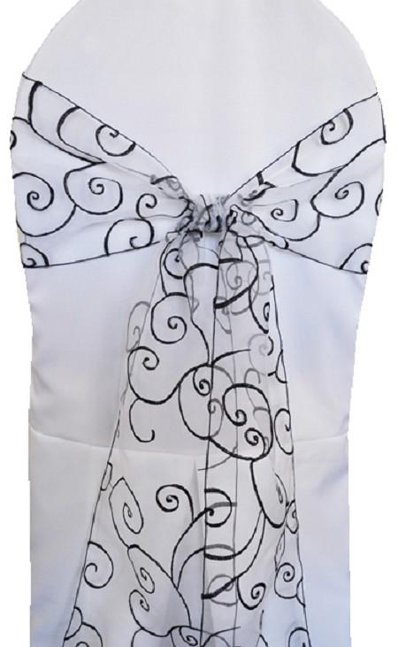 Black/White Embroidered Organza Chair Sash