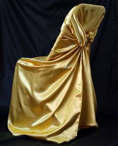 Gold, Satin Self Tie Chair Cover
