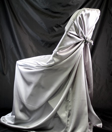 Silver, Satin Self Tie Chair Cover