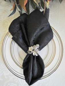 Black Damask Napkin