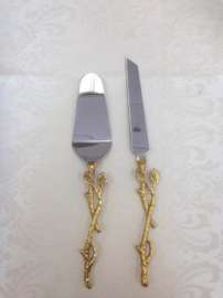 Gold Leaf, 2pc. Cake Server