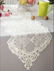 Ivory 13″x108″ Floral Lace Runner