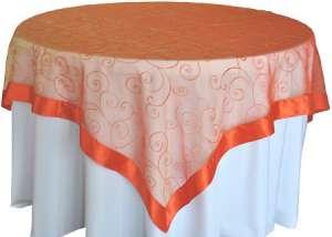 Orange 85″ x 85″ Embroidered Organza Overlay