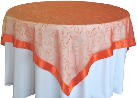 Orange 85″ x 85″ Embroidered Organza Overlay