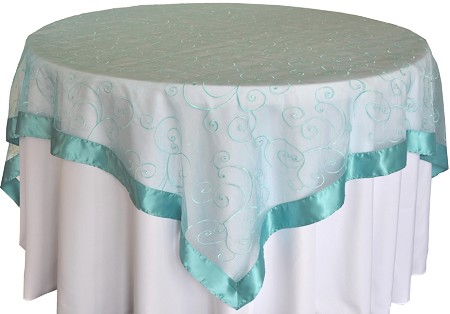Pool Blue 85″ x 85″ Embroidered Organza Overlay