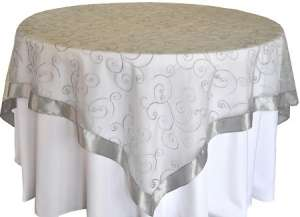 Silver 85″ x 85″ Embroidered Organza Overlay