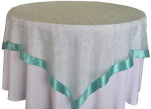 Aqua/Tiffany Blue 85″ x 85″ Embroidered Organza Overlay